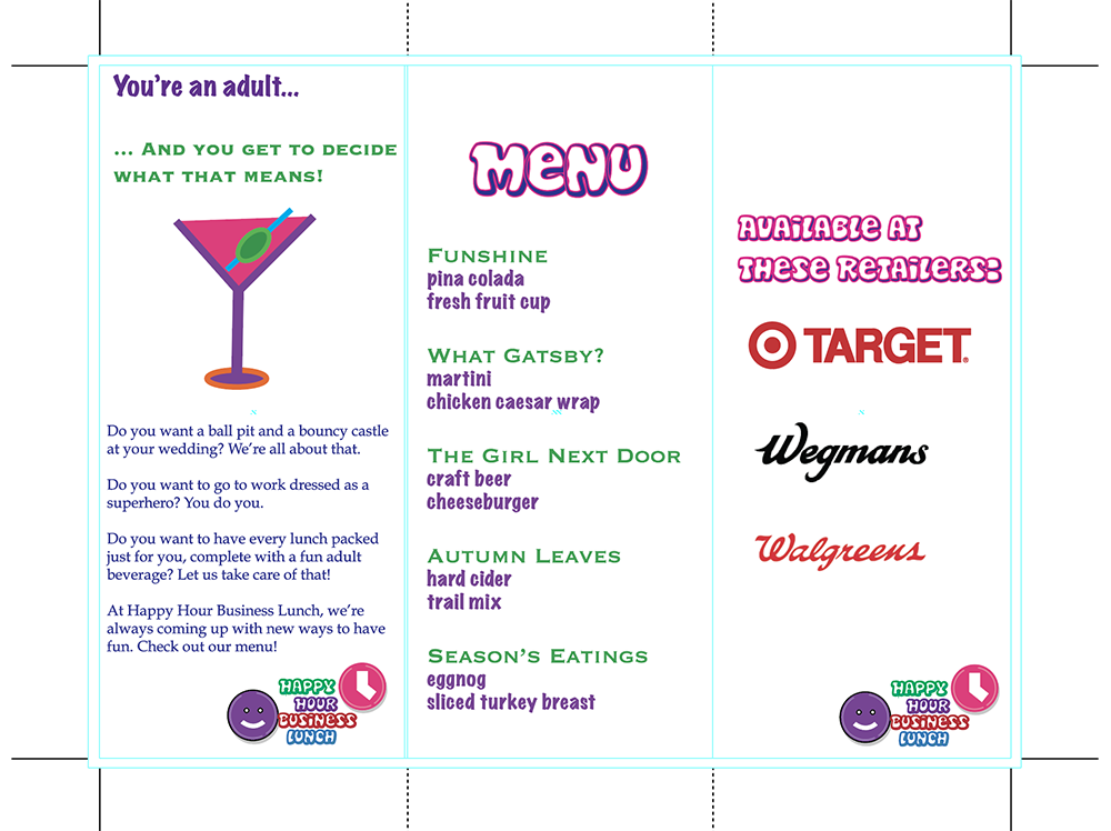 Illustrator project: Happy Hour Business Lunch, inside of brochure