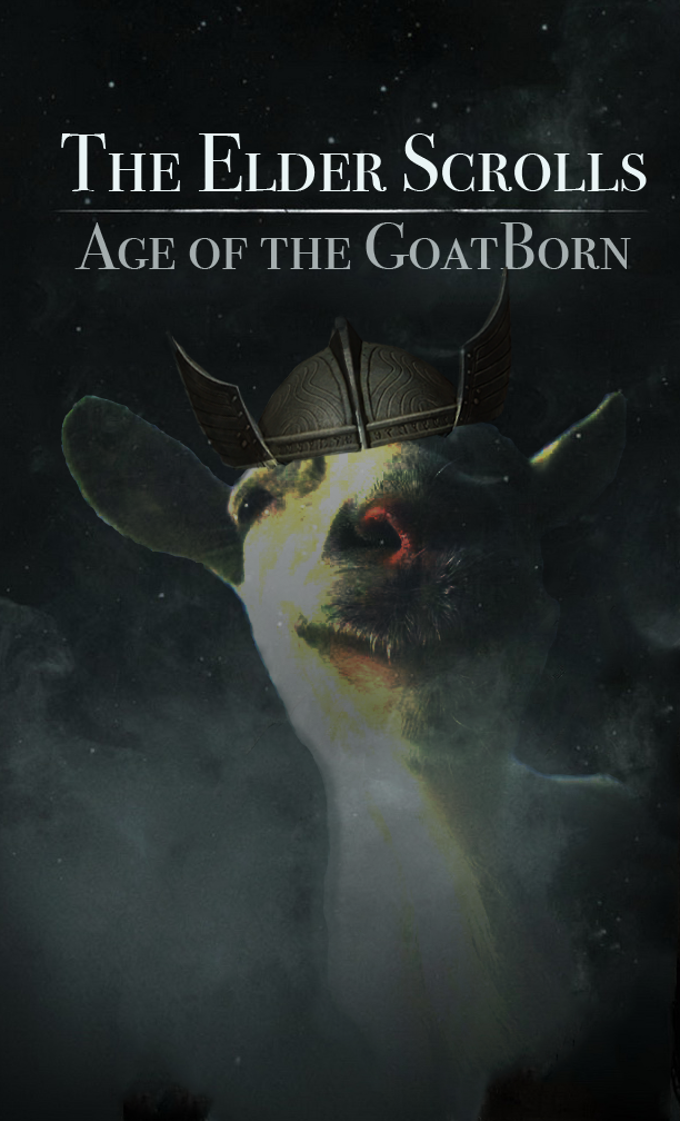Photoshop project: Video Game Mashup - Skyrim/Goat Simulator