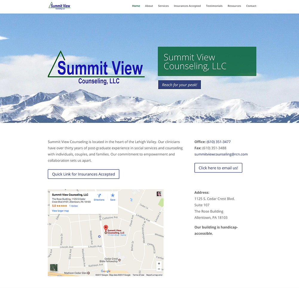 Site redesign: summitviewcounseling.com